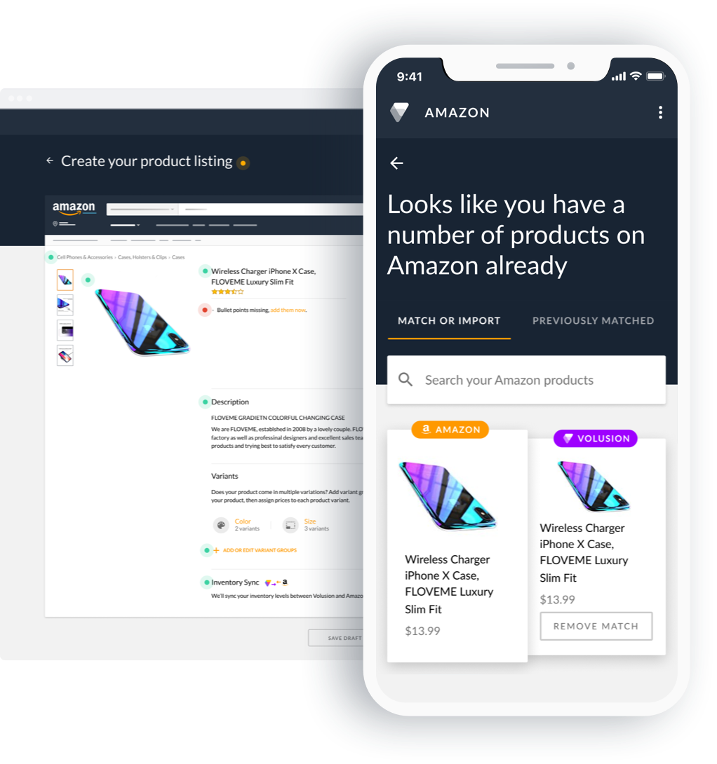 Screenshot of Amazon sales integration tool