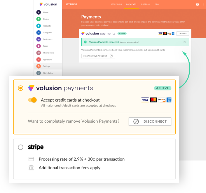 Volusion Payments makes it easy to process credit card transactions through your ecommerce store admin
