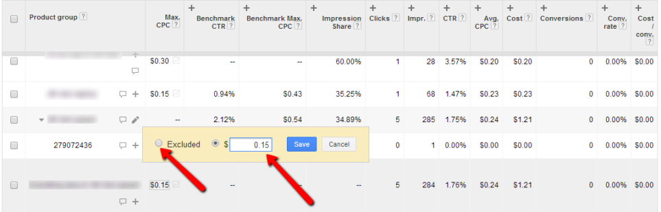 11 Adwords change bids exclude
