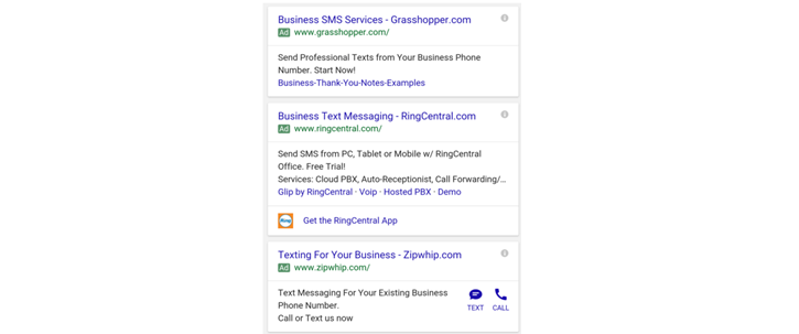 Google Adwords ad extension