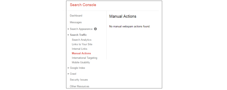 Search Console Manual Actions