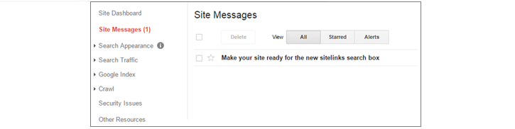 Search Console Site Messages