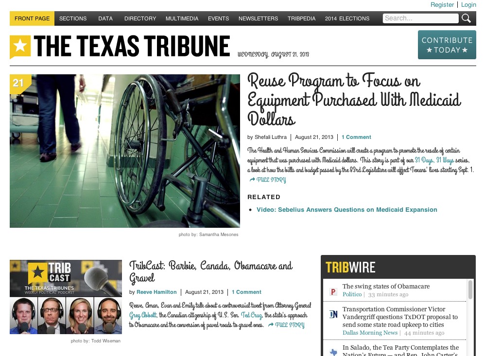 Texas Tribune with typeface Grand Hotel