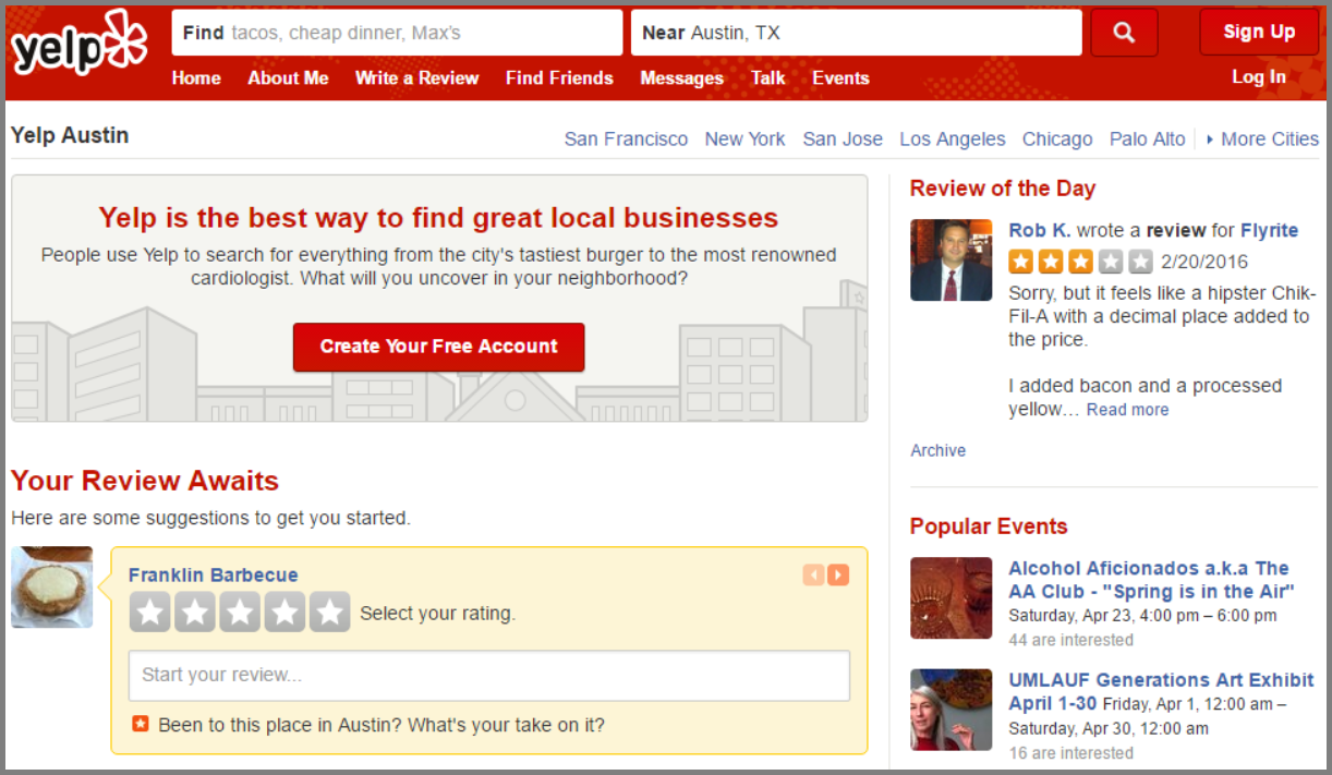 Yelp dashboard