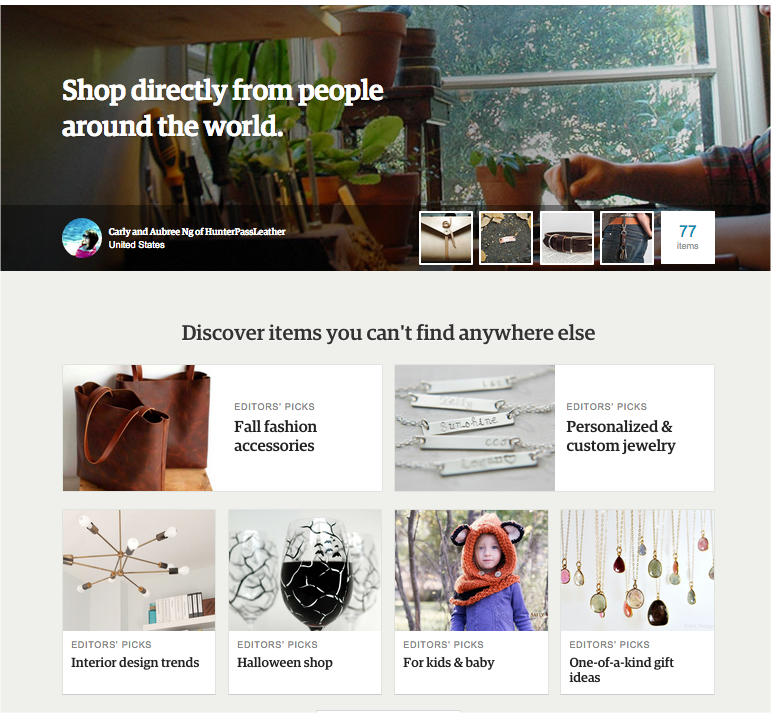 etsy homepage design