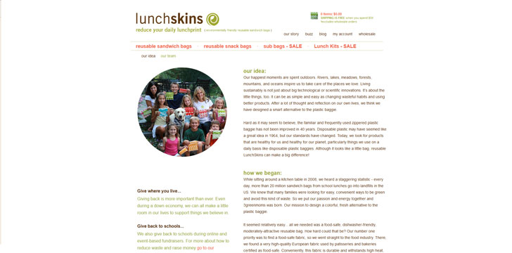 Lunchskins About Us page example screenshot